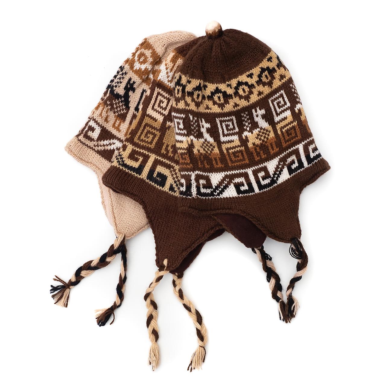 снимка на Зимна шапка Chullo в кафявата гама