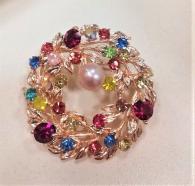 снимка на Пъстроцветна брошка с естествена перла