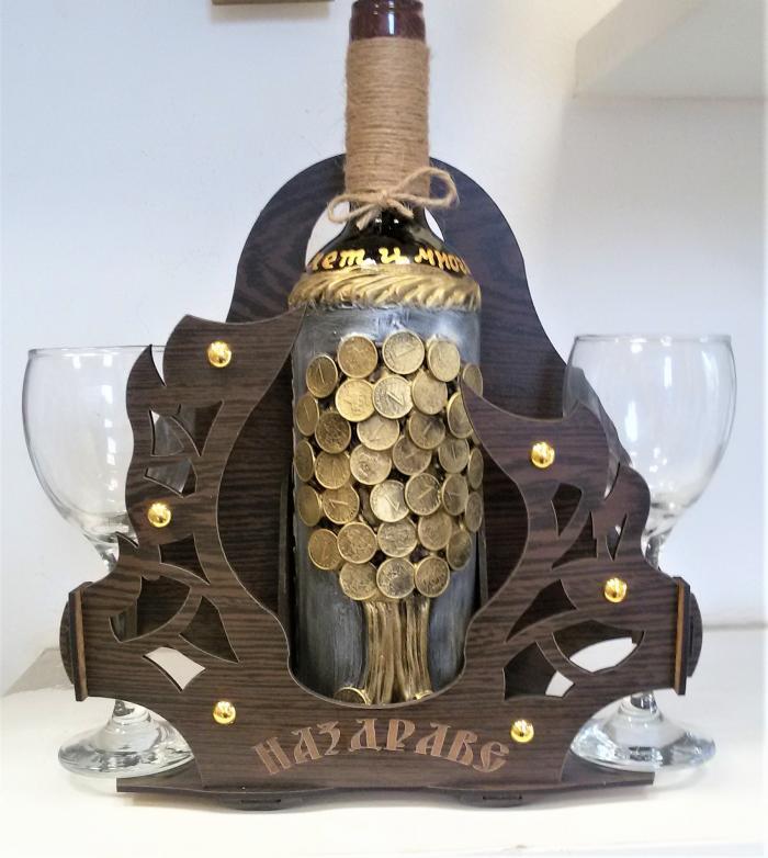 Арт подарък с вино