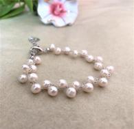 снимка на Гривна от естествени перли със сребро