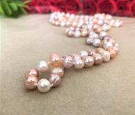 Широка гривна от естествени перли