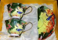 снимка на Комплект кафе от костен порцелан с птици