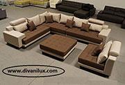 снимка на Пеобразен диван с лежанка, гъши пух  VIP