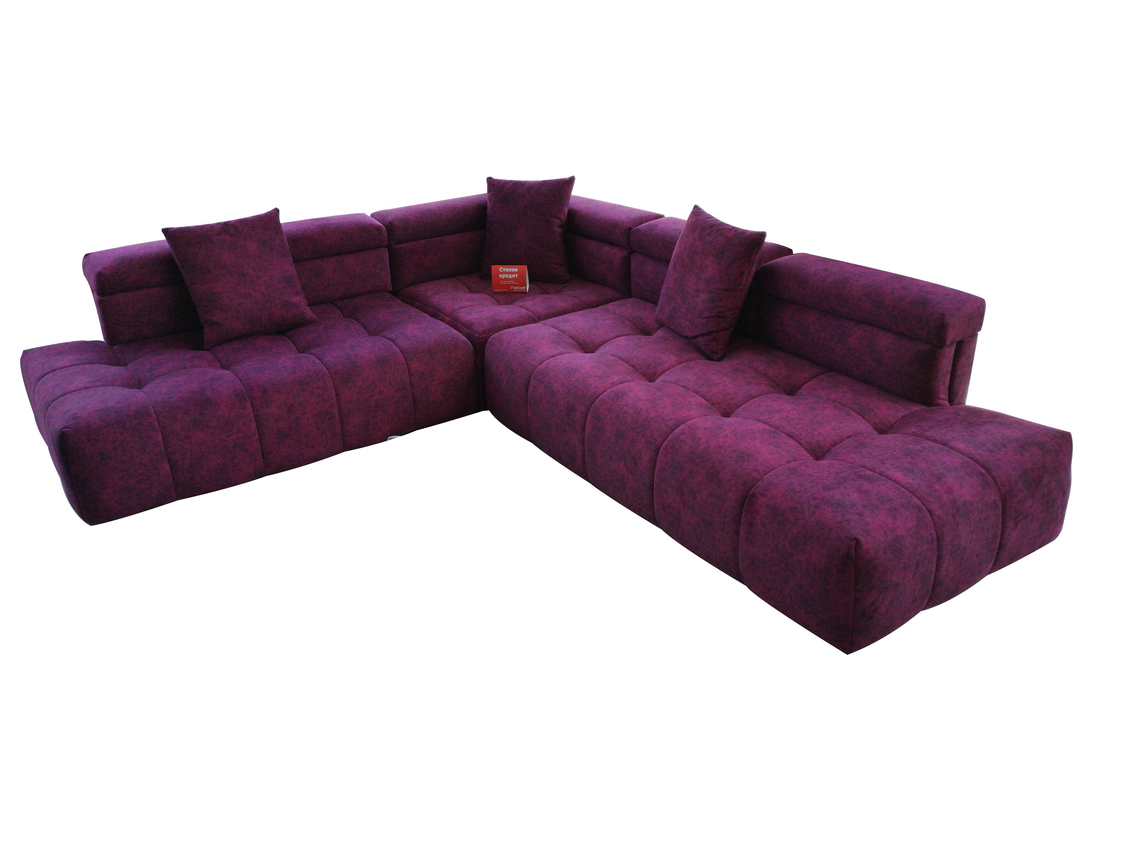 Ъглов диван в бордо с италиански дунапрен и дамаска Лукс 1501