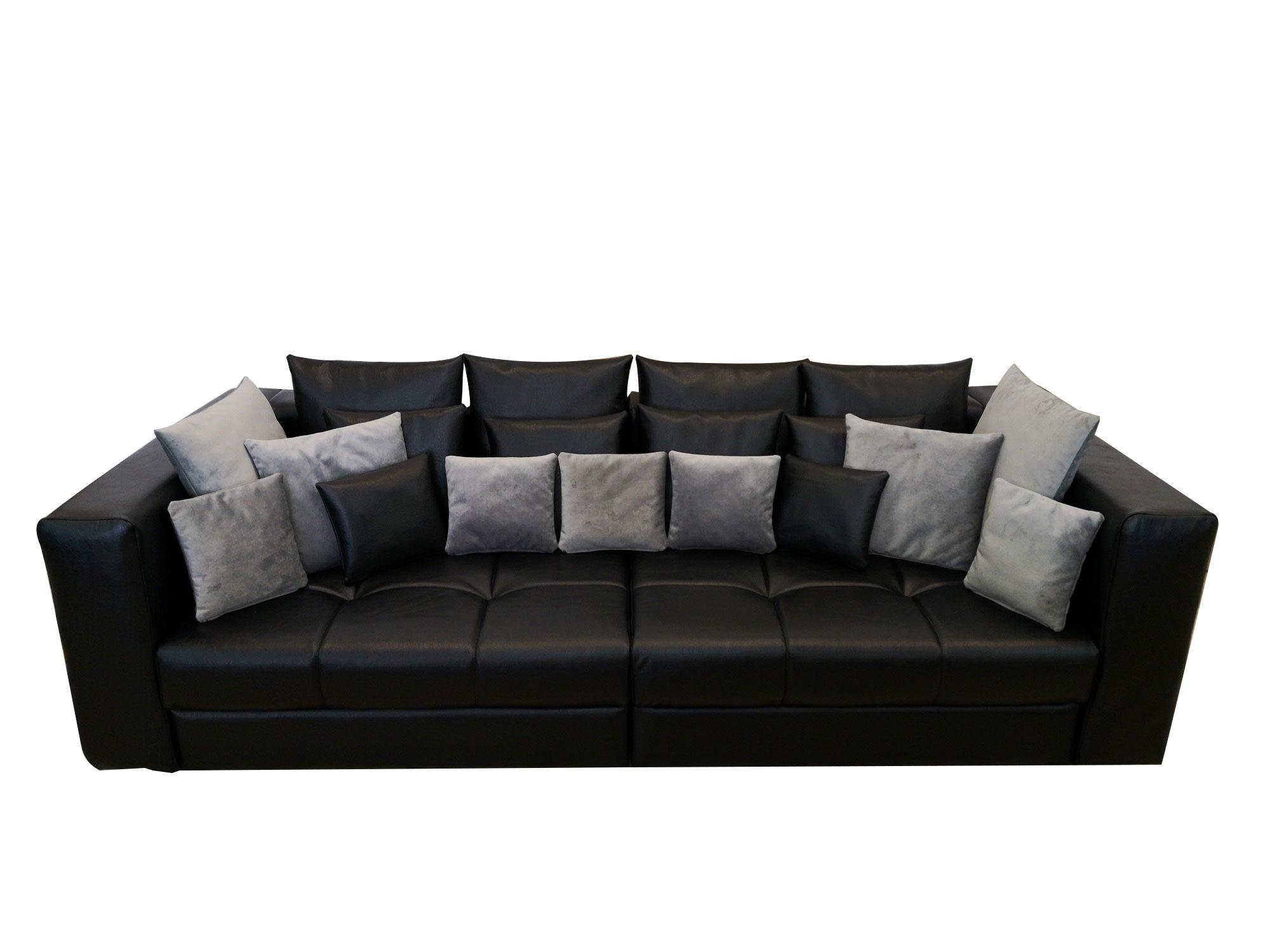 Черен кожен диван двойка с италиански дунапрен 13см