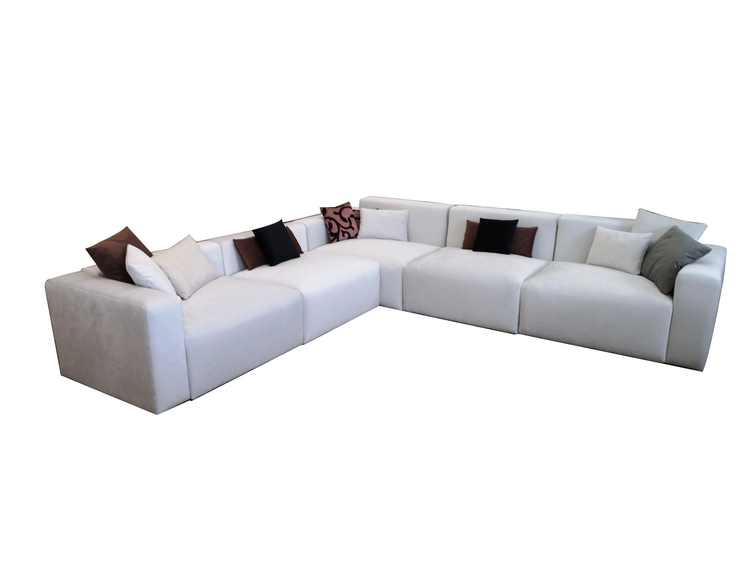 Бял ъглов диван с италиански дунапрен