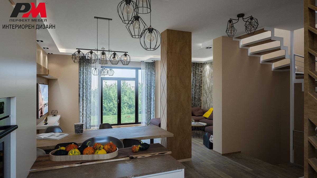 Екстравагантен интериорен дизайн на голяма триетажна къща