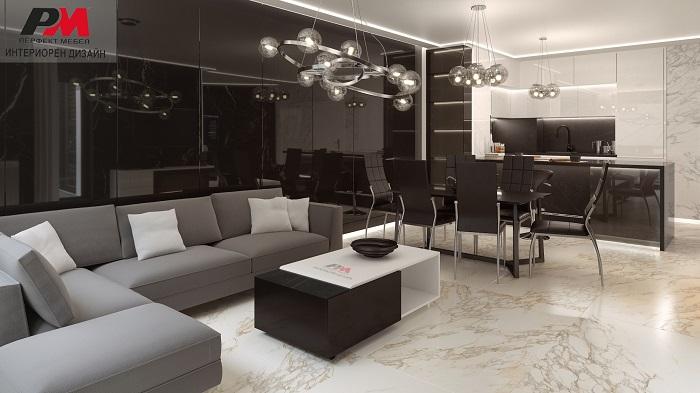 Интериорен дизайн на апартамент в съвременен стил.