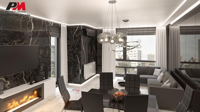 Луксозен интериорен дизайн на всекидневна с трапезария.