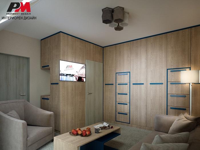 Модерен интериорен дизайн на помещение със скрито обзавеждане