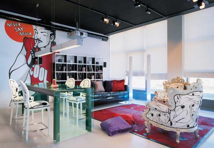 снимка на Апартаментмоден стил с ретро елементи
